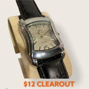Silver Watch w/ Black Crocodile Strap...NWT
